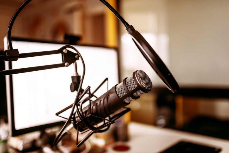 interview recording mic in radio studio