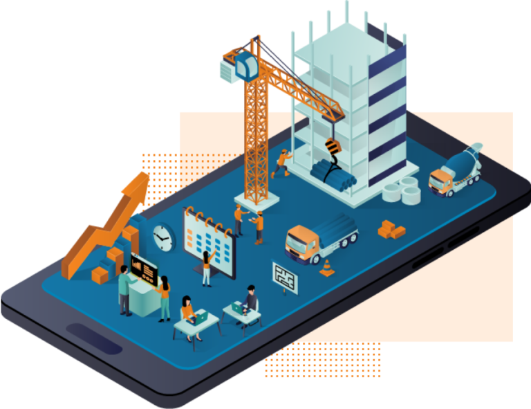 construction site and office working on a single mobile platform digitally