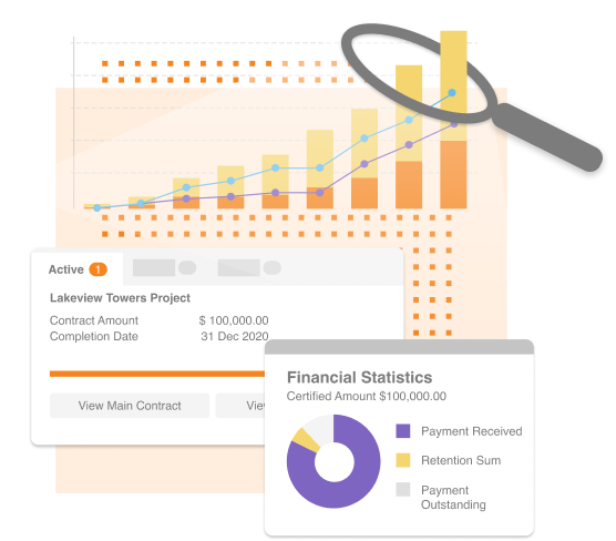 Deep dive analysis on construction data showing contract amount and financial statistics chart