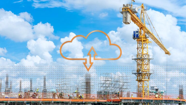 construction site with graphic of cloud software